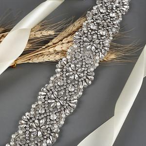 Sparkly Block Crystal Bridal Sashes Regolabile Trasparente Strass Bridal Bridal Brosser Accessori da sposa Accessori da sposa ZY