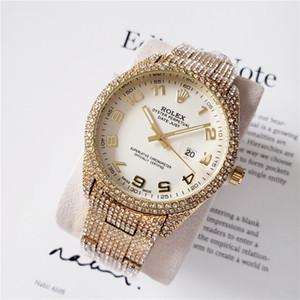 DE 2020 Affari Mens diamante vigilanza maschio orologio di design anello di diamanti pieno intorno orologio da polso numero romano marchio ora ghiacciato fuori Guarda Day Date