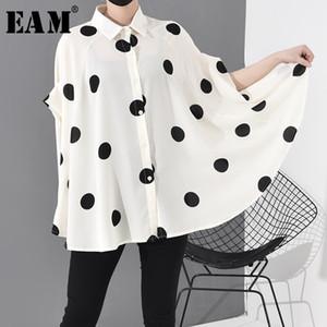 [EAM] Frauen Dot Printed Stich Big Size Bluse New Revers Langarm Loose Fit Hemd Mode Tide Frühling Summer2020 JW576