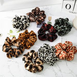 Chica arcos del pelo 9 colores accesorios para el cabello niñas Leopard anillo elástico Tela Color Ponytail de la diadema de la goma Scrunchies JY774