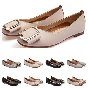 dames Chaussures plates taille lager 33-43 femmes fille nue en cuir gris noir Nouveau arrivel mariage Groupe de travail chausseurs formelles de femmes Vingt-huit