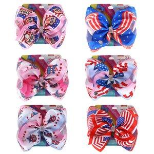 Ins national flag jojo siwa girls hair clips 8inch jojo siwa bows girls designer hair clips kids barrettes BB clip hair accessories B1224