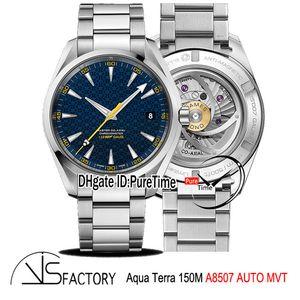 """VSF AQUA TERRA 150M GAUSS """"SPECTER"""" JAMES BOND 007 A8507 Reloj automático para hombre Dial de textura azul SS Pulsera 231.10.42.21.03.004 Puretime"""