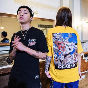 Marque Hommes Harajuku T-shirt de ligne Cartoon crâne Assemblée T-shirt de style japonais Streetwear surdimensionné T-shirt d'été T-shirts en coton Tops