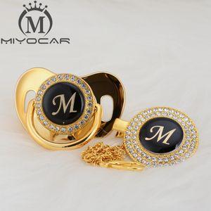 MIYOCAR nome design único letra inicial M bonita que bling chupeta e chupeta clipe BPA manequim livre que bling LM design exclusivo