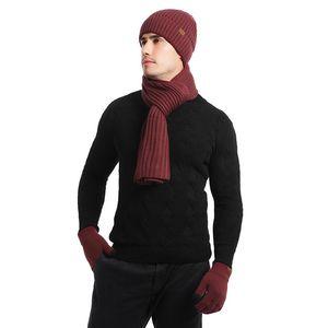 3pcs lana lavorato a maglia ispessite sciarpa cappello guanti traspirante Warm Set per le donne gli uomini JL