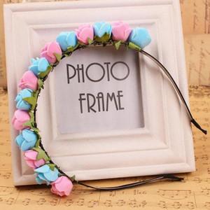 10pcs / Lot Accessoires pour cheveux Rose Pe Fleurs Bandeaux 8cm Floral pour les enfants mariée mariage Coiffe Ou Décorations