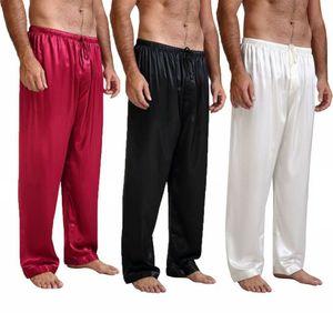 Erkek İpek Saten Pijama Pijamalar Pantolonlar Uyku Altları Gecelikler Eşofman Altı