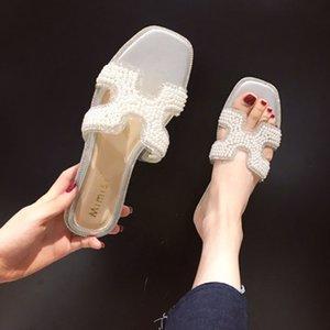 Crystal2019 Font One Joker Ins Zapatillas de mujer con fondo plano y pantuflas frescas Sandalias Tide Otra ropa