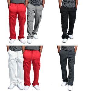 Cargo de los hombres flojos rectas anchas Pantalón de pierna Casual Male dobladillos elásticos de la cintura Confort pantalones pantalones