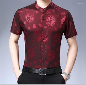 Vêtements décontractés Homme d'affaires en vrac de vêtements de style chinois Hommes d'été Chemises à manches courtes Designer Turn Down Mode collier