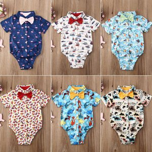 Infant Baby Boy Gentleman Clothes Short Sleeve Bodysuits Toddler Summer Print Buttons Open Front Shirts Tops Outfit O-24M
