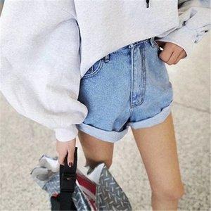 2018 Summer Europe And America Women Casual Jeans Shorts Streetwear Solid Harajuku High Waist Edge Blue Denim Shorts