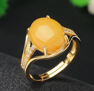Натуральный янтарь пчелиный воск пчелиный воск нефрита кольца 925 серебряные кольца инкрустированные женский Джейд кольцо прямые оптовые