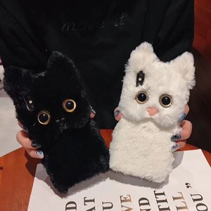 2020 Luxury Warm 3D iphone cover Cat Plush Fur Phone Case For iPhone 11 Lovely Cute Furry Soft TPU hair Back phone Cover for iphone 11 pro