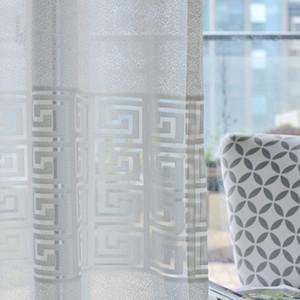 Salon Yatak odası Pencere Ekran Lüks Şeffaf Yumuşak Hollow-out Perde Kumaş Modern Basit Beyaz Jakarlı Yeni Tül Perde