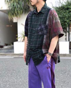 패션 바늘 고대 격자 무늬 바느질하여 다시 남성 디자이너 T 셔츠 레트로 짧은 소매 셔츠 록키 셔츠 캐주얼 하이 스트리트를 씻어
