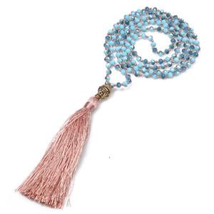 Gioielli Regali nappa lunga collana Neon antica lega d'argento Testa del Buddha Pendente sfaccettato cristallo nodo Collana Donne