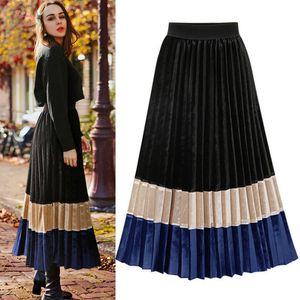 Nuovo gonna a pieghe velluto autunno inverno gonna Vintage Skirt bottom Midi lungo a blocchi di colore elegante Ufficio Streetwear Jet 1