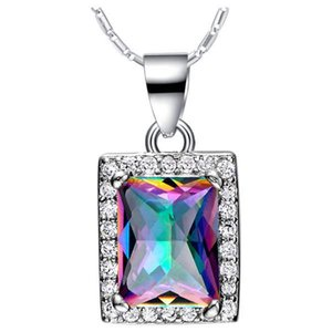 Hot Selling Beautiful 925 Silver Plated Rainbow Mystic Topaz Rectan Pendant Necklace Womens Engagemant Wedding Party Gift Daily Wear Jewelry