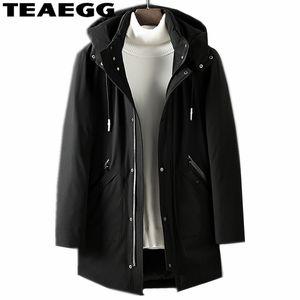 TEAEGG nouveau noir chaud de haute qualité Parka à capuche Homme Coton Manteau Veste d'hiver Veste d'hiver Invierno Mens Parkas Hombre AL698