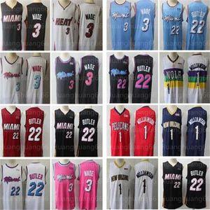 NCAA Men Dwayne Wade 3 Jersey Jimmy 22 Butler costurado jerseys Zion 1 Williamson basquete jersey