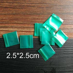 Extra small Closure pockets bag 2.5*2.5cm*20 silk green thick 25*25mm pill bag jewelry bag