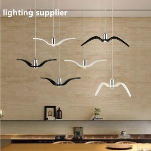 Nórdico simples gaivota lâmpada restaurante moderno varanda lustre LED personalidade criativa pássaro candelabro quarto lâmpada Resina pássaro lustre