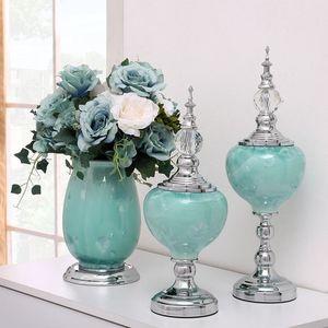 Luxurious European Home Dekorative Accessoires Mode Europa Figurinen aus Keramik Ornamente Hochzeitstisch Blumen Moderne Vase
