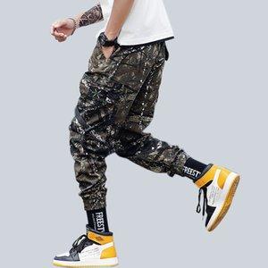 Men Camo Cargo Pants Hip Hop Ribbons Mens Streetwear Casual Pockets Joggers Pants Male Fashion Sweatpants Homme Trousers