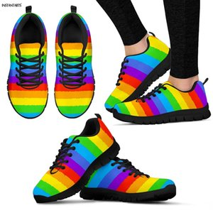 INSTANTARTS Rainbow Flag Pride Pattern Running Shoes Women Men Summer Lace Up Sneakers Adults Athletic Sports Air Mesh Shoes