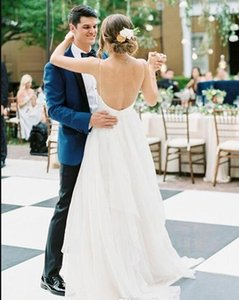 2020 Sexy praia vestidos de casamento Sexy Spaghetti Chiffon Ruffle Comprimento Pavimento barato casamento vestidos de noiva sem encosto País Um vestido de casamento da Linha