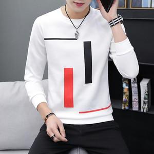 impressa de mangas compridas T-shirt adolescente em torno do pescoço top bottom roupas masculinas moda casual masculina de primavera e outono Novas