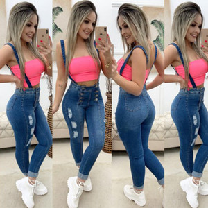 Sale Button Mid Skinny Overalls Casual Slim Jeans For Women Jeans Hole Design Woman Denim Pants High Quality Waist Women