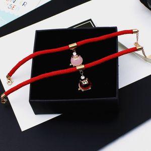Японский и корейский Розовый Рич зодиака Свинья титана стали красный браслет веревочки Передача Красный Handrope Pig Год Tidal ювелирные изделия в год жизни