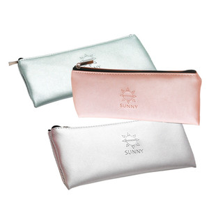 Hot Sale Simple Green Gold Silver Pink Leather Pencil Case School Supplies Stationery Gift Storage Bag Pencil Box