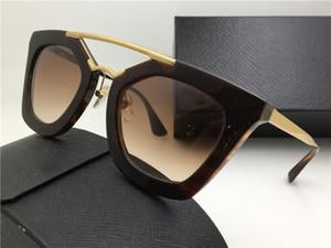 Новые SPR Солнцезащитные очки 09Q кино Солнцезащитные очки Покрытие Зеркало объектива Поляризованные объектив Урожай ретро стиль площади кадра Золотой Средний Женщины дизайнер