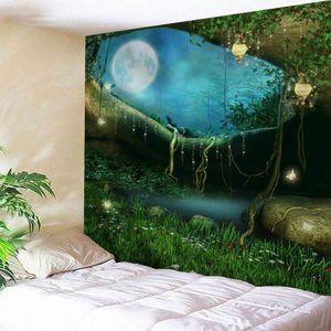 Fairy Forest Tapestry Art Psychedelic tapeçaria Início Colcha Detalhes Resumo de mármore Impresso Lance Tapestry Art