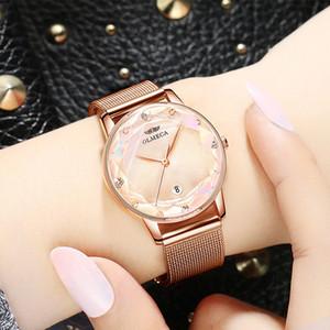 Cristal Senhoras vestido Watches Brand Watch Mulheres Rose Gold Quartz relógio de pulso Feminino malha de aço do relógio à prova d'água