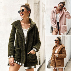 Frauen Cardigan Pullover Mäntel Herbst-Winter-warme Kapuze Outwear Streifen Tasche Warm Winter Fashion Cardigan Tops