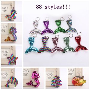 88styles unicorn Flamingo sequin mermaid Keychain star Heart Glitter keyring Charms decor Car Bag decor Party Favor christmas gift FFA1287