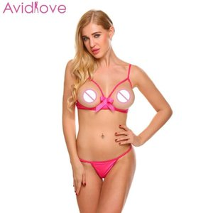 Avidlove 섹시한 세트 T 백 오픈 브래지어 섹스 숍 란제리 스트랩 조절 란제리 속옷 속이 빈