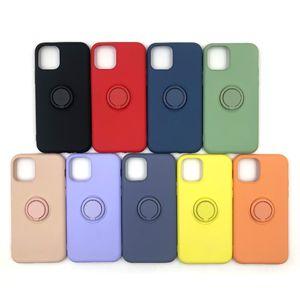 Líquido de silicone caso telefone para iphone 11 Pro Max XS XR X 8 7 Plus Caso Com dedo anelar Buckle à prova de choque Armadura Tampa