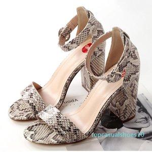 Karin New Fashion Square tacones altos sandalias del verano de las mujeres calza la hebilla de correa de color de la mezcla la oficina de señora mujer de los zapatos sandalias t10