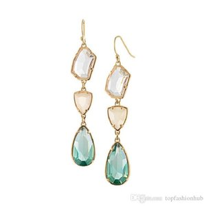 Simple And Versatile European And American Fashion Earrings Fresh Alloy Gemstone Crystal Drop Lady Earrings Wedding Jewellery For Women