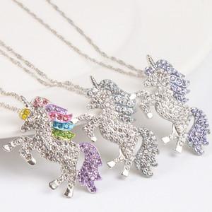 Crianças e mulheres colar colorido unicórnio diamante pingente colar crianças camisola cadeia jóias acessórios frete grátis
