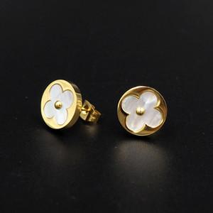 New Designer Luxury Earrings 316L Stainless Steel Four-leaf Clover Shell Stud Earrings for Women Couples Gift L Earrings Jewelry