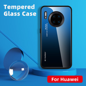 Gradiente vidro capa para Huawei P40 Pro P30 Lite P20 Companheiro 30Pro 30 20Pro 30Lite 20 Nova T5 P inteligente Y6 Y7 Y9 Caixa colorida 2019 Luxo