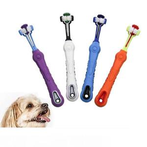 Tres lados del cepillo de dientes del perro casero del perrito de Multi-ángulo del cepillo de dientes de limpieza oral perro Dental Health preparación fuentes envío