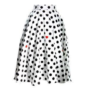 Personalizar a mulheres Verão Nova Moda Casual Plus Size 3XS-10XL cintura império de bolinhas Coração Imprimir uma saia de linha